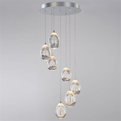 tegg pendant ceiling 7 light led spiral cluster chrome