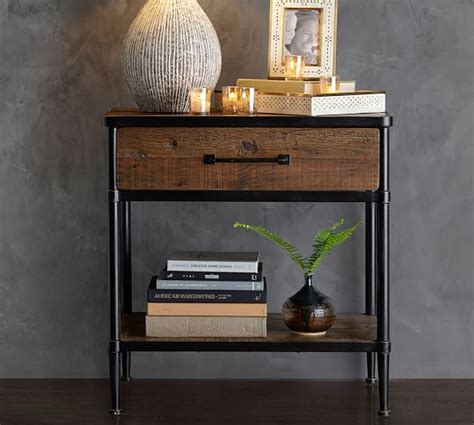 reclaimed wood bedside table juno reclaimed wood bedside table pottery barn