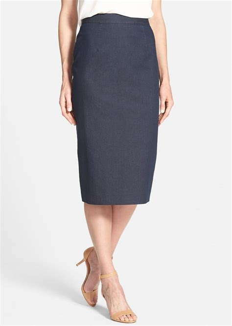 halogen halogen 174 denim midi pencil skirt skirts shop