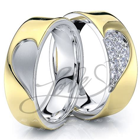 His And Hers Wedding Rings by Solid 014 Carat 6mm Matching Design His And Hers