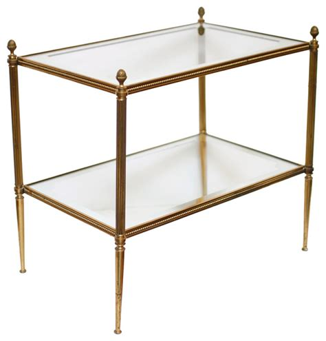 glass and brass end tables vintage brass and glass side table traditional
