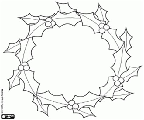 holly wreath coloring page christmas wreaths and garlands coloring pages printable