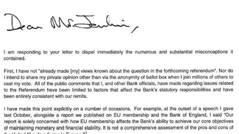 Business Letter Brexit Brexit Leave Caigner Claims Boe Governor Sent Him