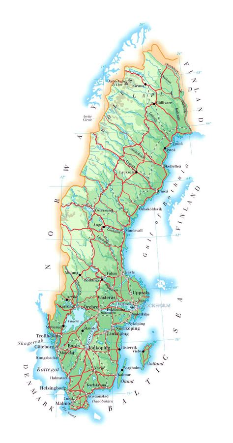 physical map of sweden large detailed physical map of sweden with roads cities