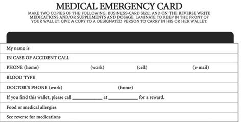 emergency information card template printable emergency card images