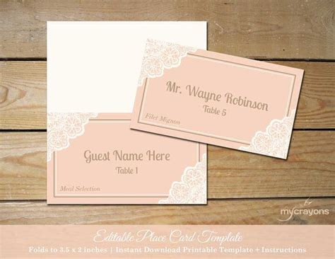 wedding folded place card template printable lace wedding place cards by mycrayonspapeterie