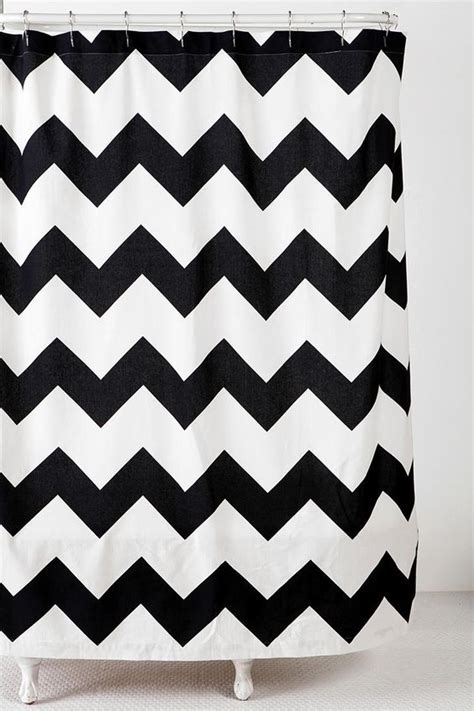 black zig zag curtains zigzag shower curtain urban outfitters urban and bath