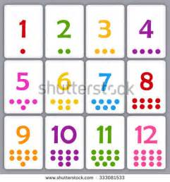 two dots promotions printable flash card collection numbers dots stock vector
