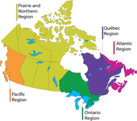 canadian map regions regions of canada map