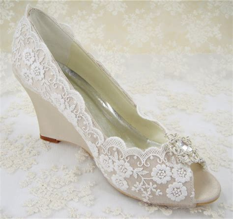 Lace Wedge Wedding Shoes by Rhinestones Bridal Shoes S Wedding Shoes Wedges