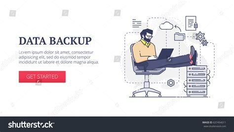 Flat Line Banner Design Template Data Stock Vector 637454011 Shutterstock Data Backup Procedure Template