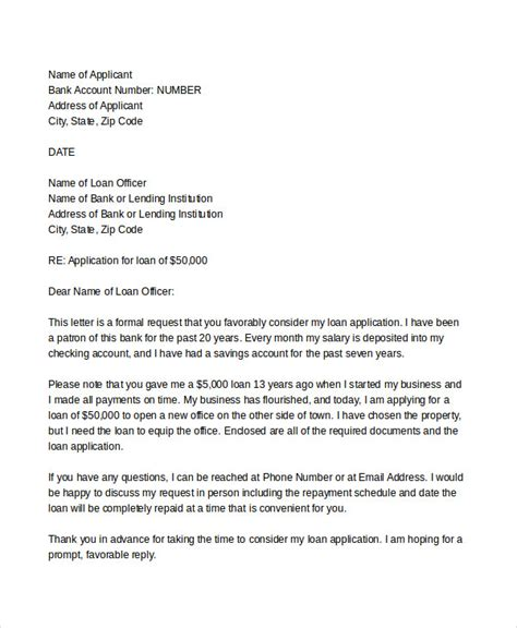 Business Loan Letter To Bank Sle Loan Application Letters 17 Free Sle Exle Format Free Premium