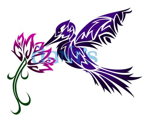 humming bird and flower tribal by white tigress 12158 on