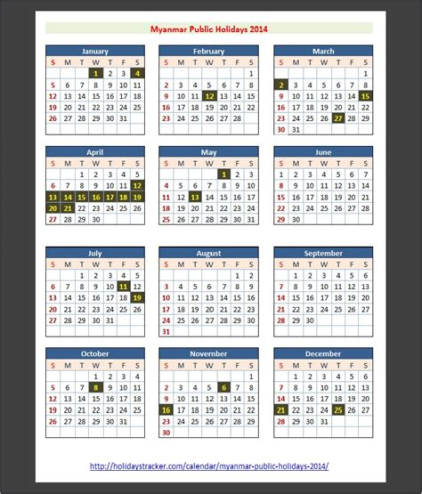 Myanmar Burma Calend 2018 Myanmar Holidays 2014 Holidays Tracker