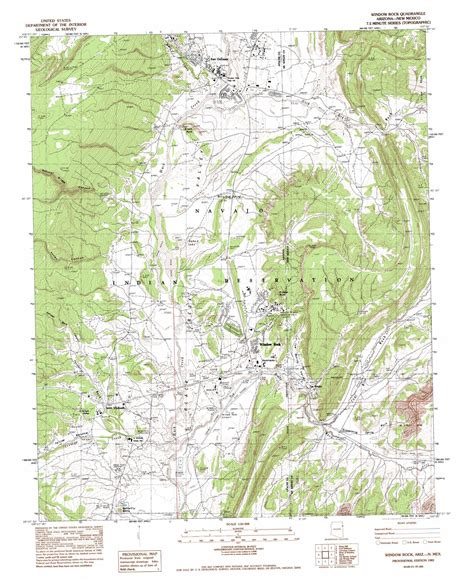 rock arizona map window rock topographic map az nm usgs topo 35109f1
