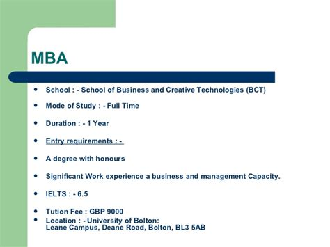 How Is Mba In Uk by Of Bolton Study Mba In Uk