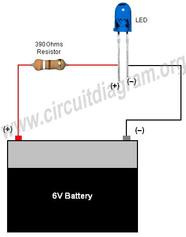 resistor 12v ke 6v simple basic led circuit circuit diagram