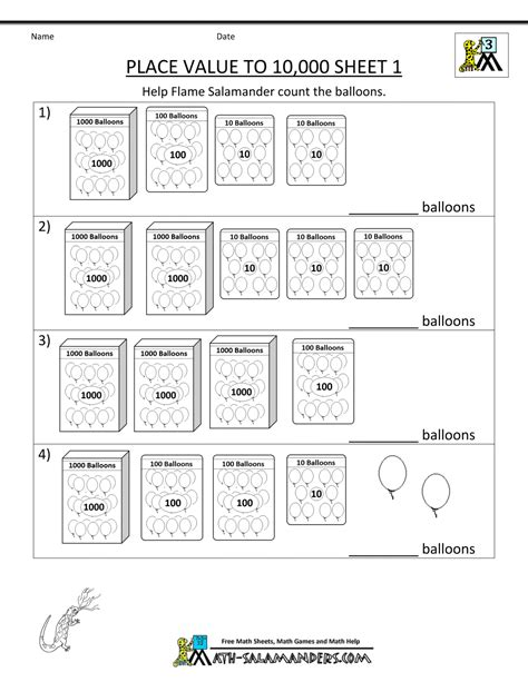 Worksheets For 3rd Grade Math by Math Worksheets Place Value 3rd Grade