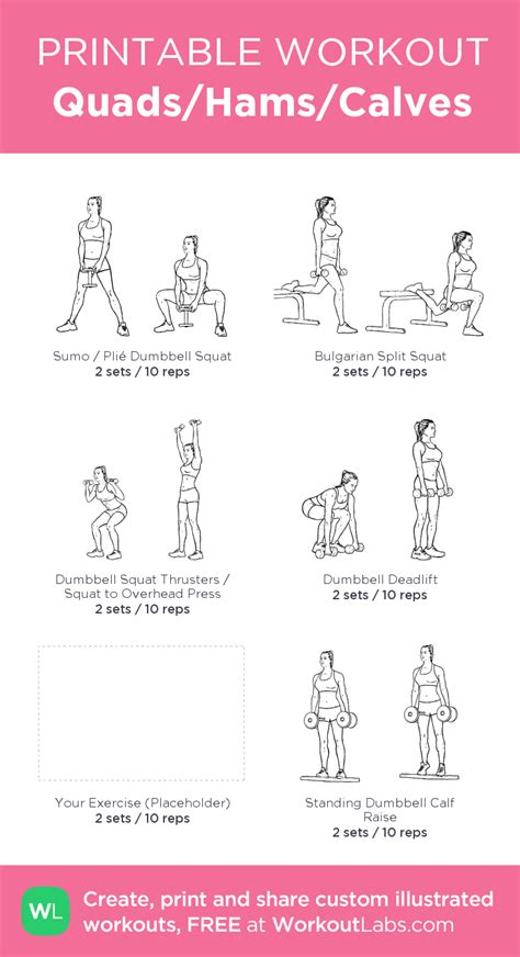printable workout instructions quads hams calves leg workout for home placeholder is