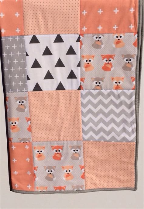 Patchwork Cot Quilt Patterns - patchwork cot quilt w baby foxes and gray patterns