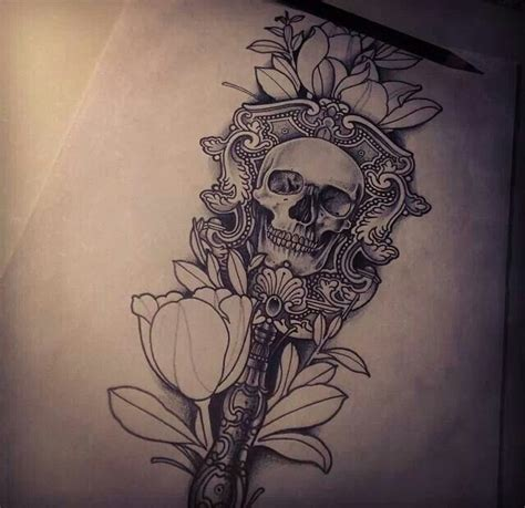 skull and flower tattoos skull flower tattoos other designs