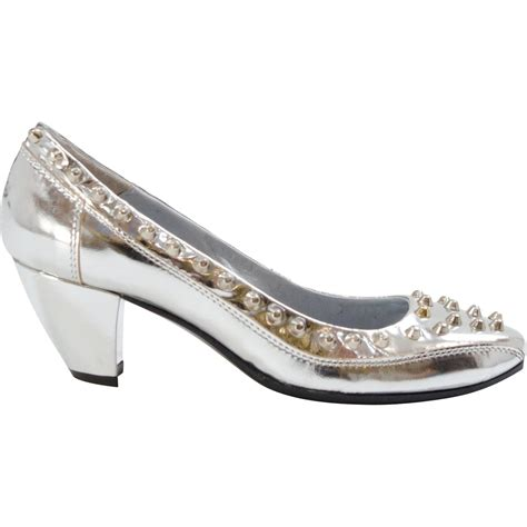 farrah patent leather studded heel silver paolo shoes