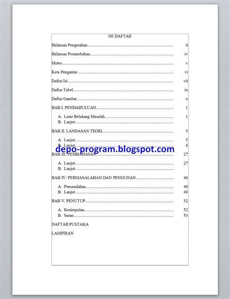 cara membuat format daftar isi otomatis cara membuat daftar isi otomatis depo program