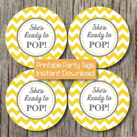 Ready Instan Yellow yellow grey baby shower cupcake toppers printable she s ready to pop boy favor