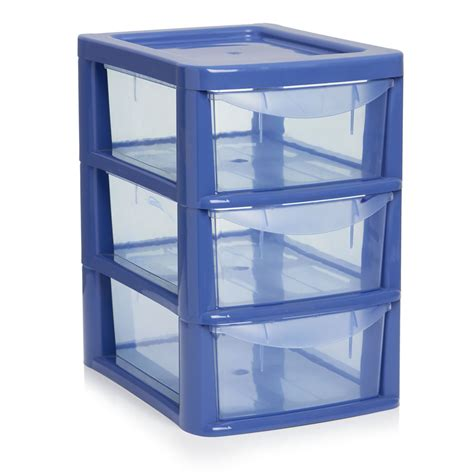 Small 3 Drawer Plastic Storage by Wilko 3 Drawer Tower Small Blue At Wilko