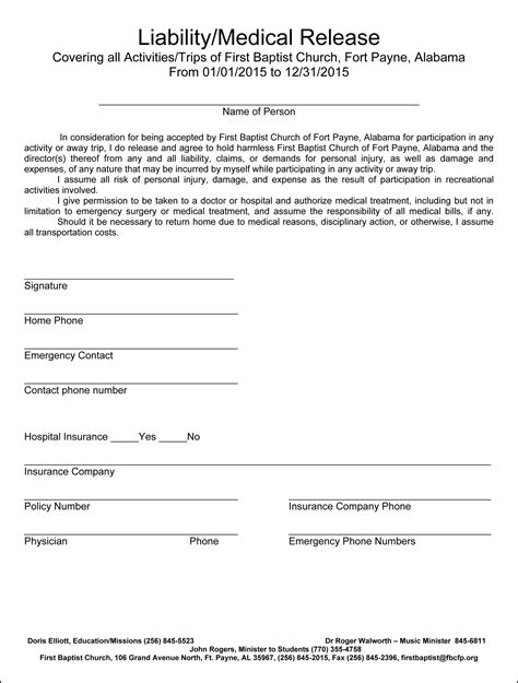 Medical Release Form For Adults Templates Free Printable Liability Waiver Template