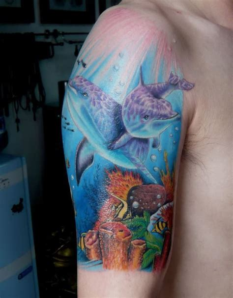 underwater sleeve tattoo designs underwater world and dolphins in on arm