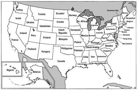 printable map of america with labels 海外ネタつれずれ 日本の都道府県を同じくらいのを持つ国で示した地図を作ってみた