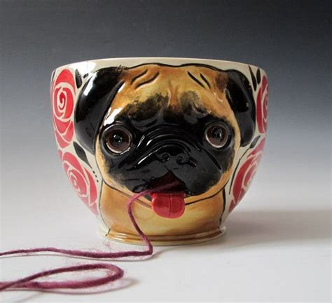 pug bowl pug yarn bowl made to order pug yarns and yarn bowl