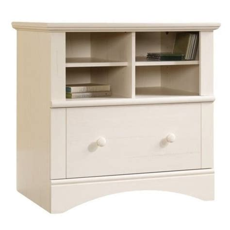 White Wood Lateral File Cabinet Bowery Hill 1 Drawer Lateral Wood File Cabinet In Antique White Bh 2146