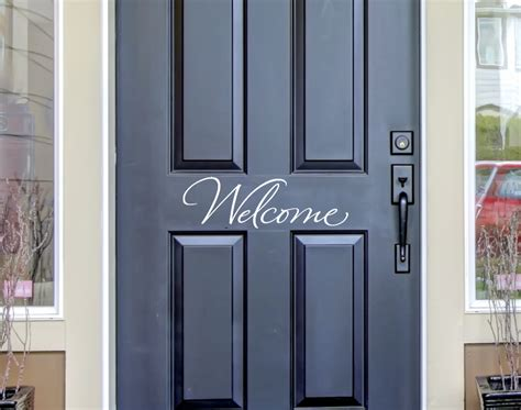 welcome decal for front door welcome front door decal wall decals by amanda s