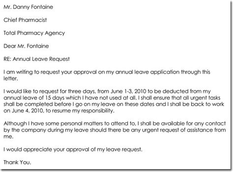 annual leave latter leave letter templates 14 sles in pdf word format