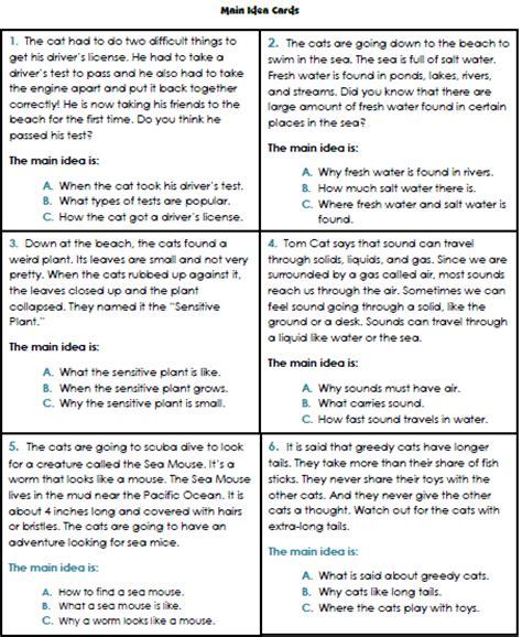 finding the main idea multiple choice worksheets main teacher s take out main idea file folder game