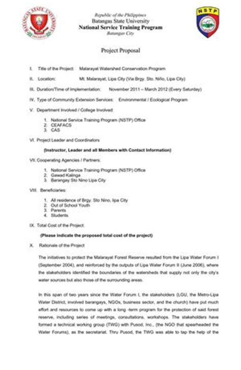 Project Proposal Format Nstp | calam 233 o nstp proposal format