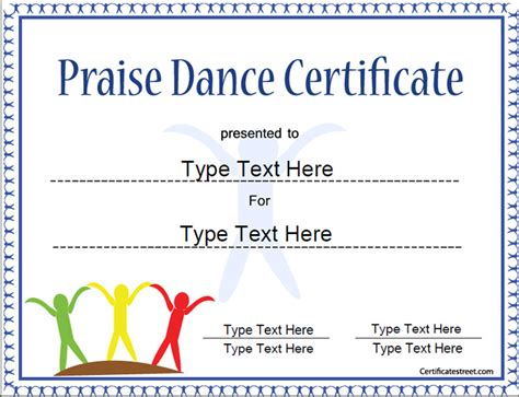 templates for dance certificates special certificates template for praise dance praise