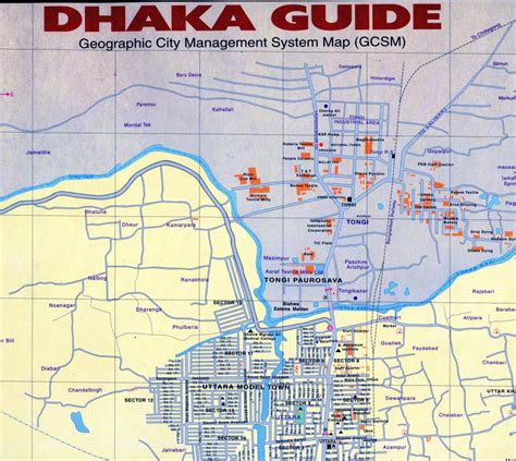 dhaka city road map dhaka guide geographic management system map