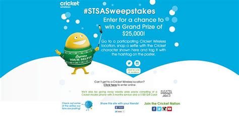 Sweepstakes Cricket - cricket wireless selfie sweepstakes stsasweepstakes com