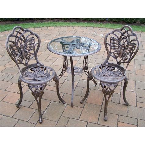 oakland living butterfly 3 patio bistro set in