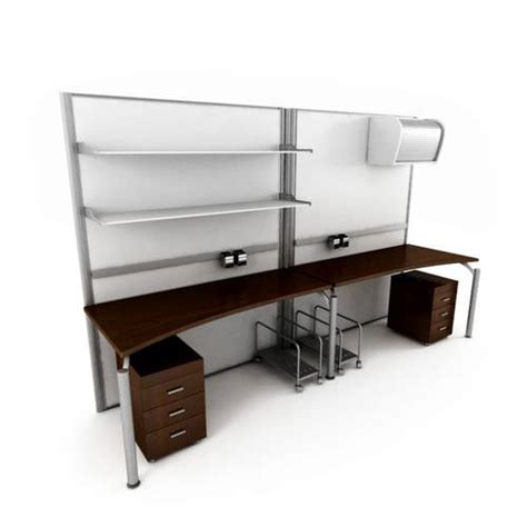 Basic 2 Person Office Desk With 2 Matching 3d Model Basic Office Desk