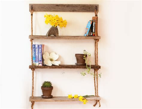 hanging bookshelves for hanging shelf three rope shelves hanging barn wood