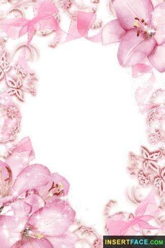 beautiful pink flowers border photo frame. insert photos