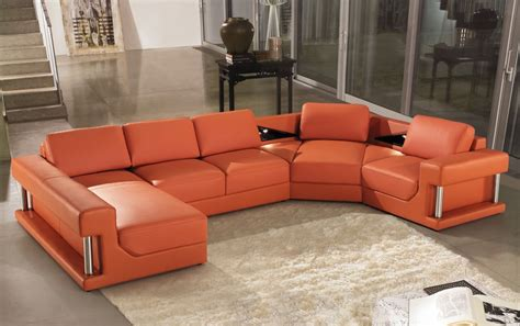 orange leather sofa 2315b modern orange leather sectional sofa