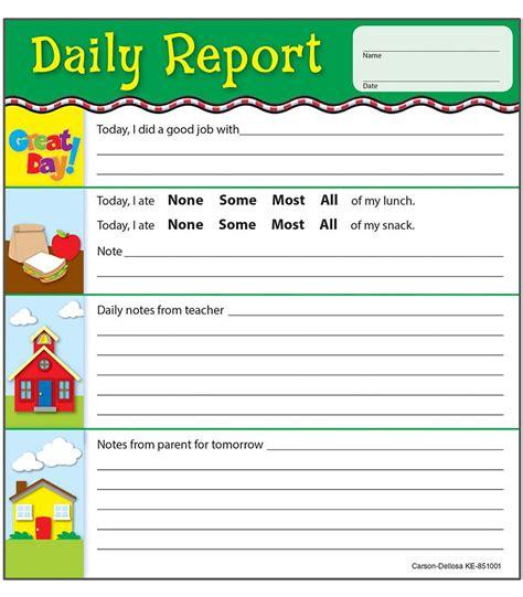 daily report notepad grade pk 2 carson dellosa publishing