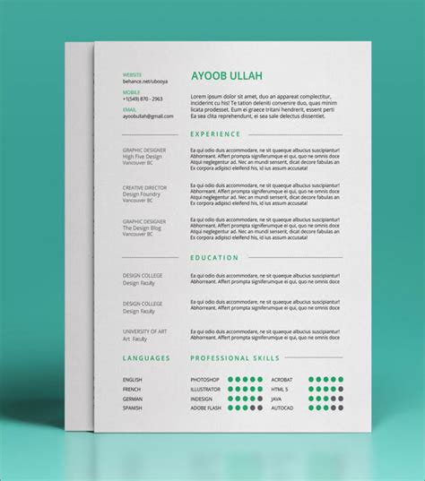 resume templates free 10 best free resume cv templates in ai indesign psd formats