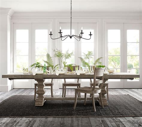 banks extending dining table gray wash pottery barn ca