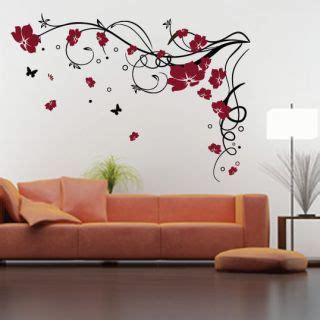 large butterfly wall stickers large flower wall decals 2017 grasscloth wallpaper
